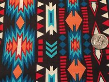 Fabric Western Aztec Stripes Arrow Deco on Charcoal Cotton by the 1/4 yard BIN