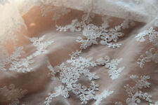 Lace Fabric White Both Sides Embroidery Flower Organza Flower Wedding 1 yard