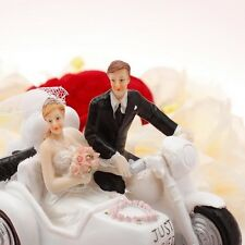 New Motorcycle Bride and Groom Silhouette Figurine Wedding Cake Topper In Stock