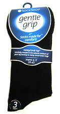 3 x Genuine SockShop Gentle Grip Soft Top Non Elastic Diabetic Socks Black 6-11