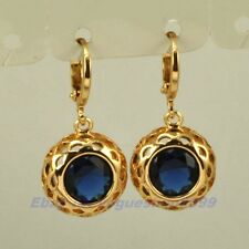 "1.18"" REAL REGAL 18K YELLOW GOLD GP DANGLE EARRINGS BLUE GEMSTONE SOLID FILL v15"