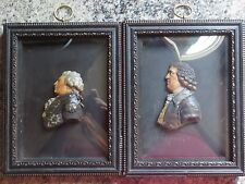 Pr. 18thC Antique John Flaxman Georgian Wax Portraits Josiah Wedgwood & Admiral