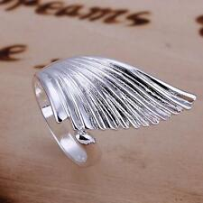 Women Adjustable Size  Sterling Silver Ring Fashion Exquisite Angel Wing Jewelry
