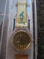 Swatch Ladies Gold 1996 Atlanta Olympics Watch Excellent Shape