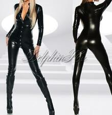 Women Sexy Bodysuit Catsuit Jumpsuit Faux Leather Gothic PVC Clubwear Costume