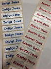 50 Red or Blue Print on White Tags IRON-ON Name Labels/School tapes