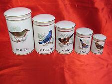 5 pots à épices cuisine en porcelaine DE LUXE à décor oiseaux
