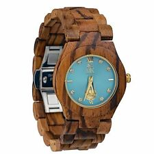 Wooden Watch For Women Maui Kool Hana Collection Zebra Wood Watch With Turquo...