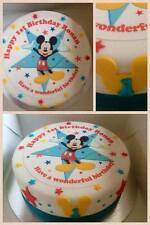 "EDIBLE DISNEY MICKEY MOUSE 7.5"" ICING BOYS PERSONALISED CAKE TOPPER +12 EXTRA'S"
