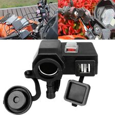 Weatherproof Motorcycle 5V/2.1A Dual USB Handlebar Clamp Power Adapter Charger