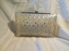 Lovely vintage Lucite clutch, purse, diamond pattern w/rhinestones