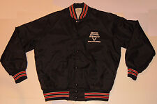 VINTAGE ARMCO STEEL, MIDDLETOWN WORKS JACKET! OHIO! BLACK NYLON/QUILTED LINING L