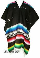 SERAPE BLANKET Mexican PONCHO - TRIBAL BLACK - ONE SIZE FITS ALL Blanket Gaban