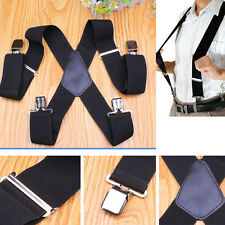 50mm Wide Mens Gentles Braces Plain Heavy Duty durable Suspender Elastic Black