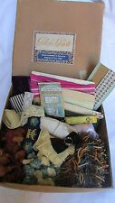 SUPER ANTIQUE FRENCH GALLERIE LAFAYETTE BOX FULL WITH RIBBON/PASSEMENTERIE/LACE
