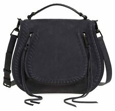 NWT Rebecca Minkoff Vanity Suede Saddle Bag Crossbody Handbag Black