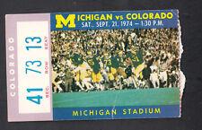 Michigan Wolverines vs Colorado September 21 1974 Vintage Ticket Stub