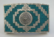Vintage Jalisco Sterling Silver & Turquoise Aztec Sun Stone Western Belt Buckle
