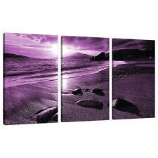Set of 3 Part Purple Landscapes Canvas Wall Art Pictures Prints 3077