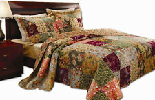 BEAUTIFUL REVERSIBLE VINTAGE FLORAL GREEN RED PATCHWORK XL COTTON BEDSPREAD SET