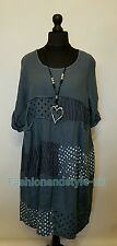 """New LaGeNLooK QUIRKY Boho LINEN patch panel TUNIC DRESS pocket exposed seam  48"""""""