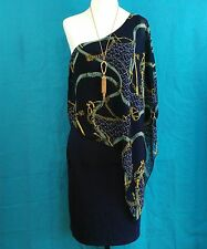 Womens Size M One Piece One Shoulder French Designer Inspired Print Dress Blue