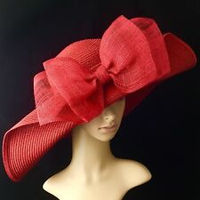 RED Church Kentucky Derby Hat with Sinamay Bow Wide Brim Dress Wedding Tea