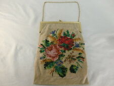 VINTAGE MICRO BEADED FLORAL DESIGN PURSE BRASS FRAME MIRROR ON CHAIN INSIDE