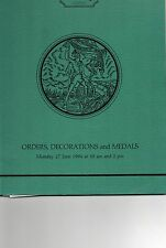 Glendinings Auction Catalogue Sale of Orders Decorations & Medals27/6/1994