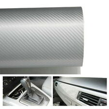 "Silver White Glossy Finish Carbon Fiber Vinyl Wrapping Sheet Film 24"" x 48"""