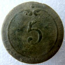 "Bouton 1° EMPIRE ""5"" Infanterie de Ligne ORIGINAL (Napoléon) relique 23 mm"