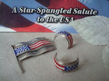 American Indian Jewelry  Patriotic SET American Flag Earrings and Pin Sterling