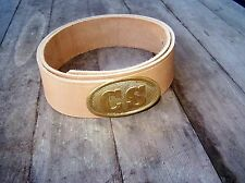 civil war natural leather belt with brass oval CS buckle 44