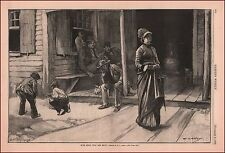 Boys Play MARBLES, Idle Men Watch Woman, by Abbey antique engraving, print, 1878