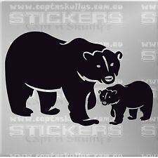 POLAR BEAR & CUB DECAL CAR, BOAT, HOUSE CAMPER 180mmx115mm 15 COLOURS TO CHOOSE