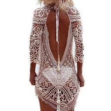 Women Summer Beach Dress Lace Crochet Bikini Cover Up Swimwear Bathing Suit  R