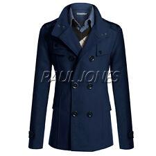 2015 Men Parka Peacoat Trench Coat Winter Jacket Wool Overcoats Size XS S M L XL