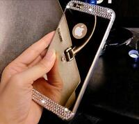 Mirror Crystal Bling TPU Soft Gel Bumper Case Back Cover For iPhone & Samsung