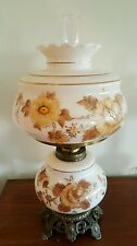 """Large Vintage Gone With The Wind Hand Painted Gold Trim Hurricane Table Lamp 28"""""""