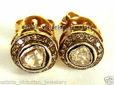 Vintage Victorian 1.48Cts Rose Antique Cut Diamond Silver Studs Earring Jewelry
