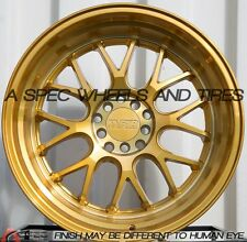 "GOLD 18X8.5 18X9.5 +35 3"" LIP F1R F21 5X114.3 RIM FIT 240SX MUSTANG GT STAGGERED"