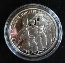 2002 JERSEY SILVER & GOLD PLATED PROOF £5 COIN + COA THE QUEENS GOLDEN JUBILEE