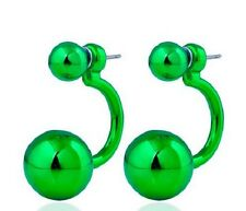 LARGE GREEN DOUBLE BALL STUD EARRINGS. 15MM
