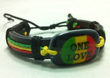 RASTA ONE LOVE BRACELET RED YELLOW GREEN BOB MARLEY JAMAICA REGGAE AFRICA IRIE