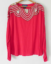 BALI Collection Top  Long Sleeve  Sequin Beading  Red Tone  Rayon  Size All