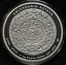 2012 Mexico Aztec Calender 1 kilo Pure Silver Coin - Tax Exempt