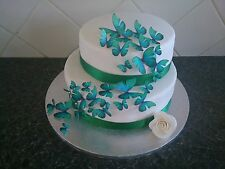 42 Mixed Size Edible Butterflies Wedding Celebration Cake Decoration Teal Green