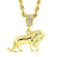 """Men's 14K Gold Plated Lion Hip-Hop 4mm/24"""" Rope Chain With pendant"""