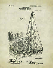 Oil Well Drilling Patent Poster Art Print Vintage Pump Drill Bit Rig Gas  PAT261