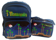 "TERRARIA Boys 16"" School Large Blue Backpack & Lunch Bag 2 pc set NEW STYLE!"